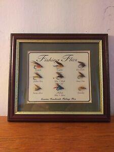 Framed Fishing Flies for collectors 9 x Flies handmade