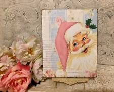 Pink Retro Santa, Shabby Cottage Style, Handcrafted Sign #2