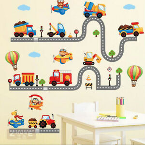 NEW Transportation Vehicles Collection Kids Wall Stickers Boys Decals Decor NEW