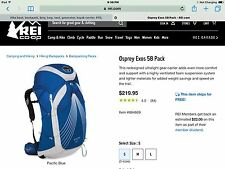 Osprey Packs Exos 58 Backpack. Pacific Blue S.