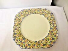 "Older Japan Mkd 10 1/2"" Square Cross Stitch Pattern Serving Plate-Handle Holes"