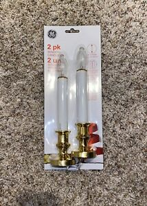 """GE Window Candles 2 Pack Gold Base Twist On Off Battery Operated 9.5"""" Tall"""