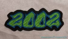 Embroidered 00s Hip Hop Graffiti Style Lime Green & Blue 2002 Year Patch Iron On