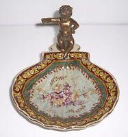 Seifenschale mit Bronze Engel - Farben: bordeaux und grün - Keramik - NEU!