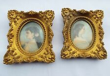 2 Vtg 'A Cameo Creation' Ornate Gold Gilt Frame Empress Eugenie & Mme Patti Set