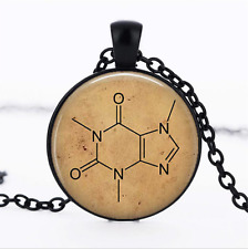 Caffeine Chemistry Molecule Black Glass Cabochon Necklace chain Pendant Wholesal