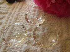 trio  gros boutons ancien en verre transparent pourtour facette 2,1 cm D10B