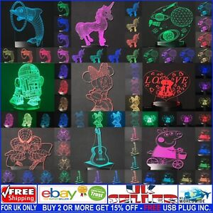 Custom 3D Illusion LED Night Light Lamps 7 Changing Colours Free USB Plug Inc.