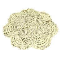 """Beige Creme 12"""" Round Scallop Edge Crochet Table Doily Home Decor"""