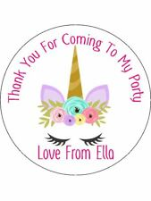 Unicorn Lilac Ear Personalised Stickers Thank You Party Bags 36 24 x 45mm U6