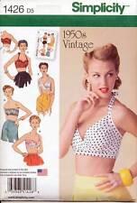 SIMPLICITY SEWING PATTERN 1426 MISSES SZ 4-12 RETRO/VINTAGE 1950 HALTER BRA TOPS