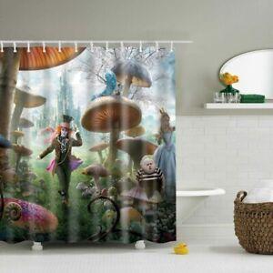 Clown And Fat Boy Mushroom Design Waterproof Fabric Shower Curtain 12 Hooks