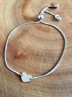 925 Sterling Silver Heart Adjustable Slider Bracelet