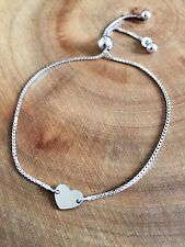 925 Sterling Silver Heart Adjustable Slider Bracelet