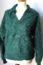 Venesha 80% Angora Sweater Dark Green Long Sleeve Collar V Neck (M)