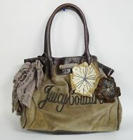 CHIC LARGE JUICY COUTURE VELVET SHOULDER BAG HANDBAG