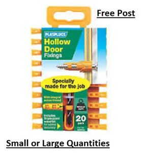 PLASPLUG HOLLOW DOOR FIXING PLUGS RAWLPLUG PACK of 20 PLUGS WITH DRILL PLASPLUGS