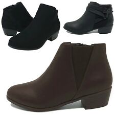 New Women's Ankle Boots Low Heel Short Booties Black Brown Size 6 to 11