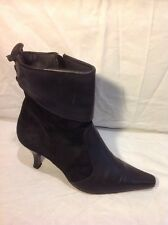 Essence Black Ankle Leather Boots Size 40