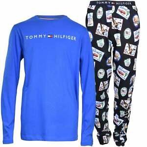 Tommy Hilfiger Boys Long-Sleeve Logo Print Jersey Pyjamas, Blue/Navy