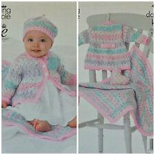 KNITTING PATTERN Baby Easy Knit Long Sleeve Coat Beret & Blanket DK KC 4117