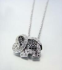 EXQUISITE 18kt White Gold Plated Elephant CZ Crystals Petite Dainty Necklace