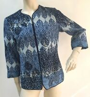Coldwater Creek Womens Size 6 Blue Embroidered Linen Blend Career Blazer Jacket