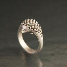 925 Sterling Silver hedgehog Ruby Ring Gemstone Animal Vintage Style Jewelry NEW