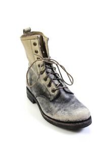 Frye Womens Leather Lace Up Combat Boots Gray Beige Size 7.5 B