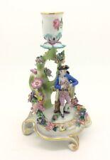 "Antique Continental Dresden Small Porcelain Candelabra Chamberstick 14cm 5.5"""