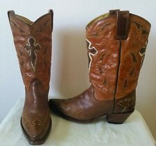 CORRAL BOOTS Women's Brown leather with crosses cowboy/western boots Size 7 M