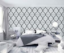 Gray Black Peel and Stick Wallpaper Removable Damask Flower Contact Paper Decor