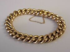 Antique Victorian 15ct Gold Curb or Charm Bracelet c1900 Concealed Clasp; 22.6g