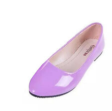 Women toe pointed flat shoes ballet dress pantent leather soft soled loafer New