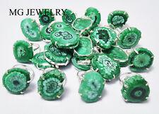 500 PCs Green Color Solar Quartz Gemstone 925 Silver Plated Prong Rings Pendant