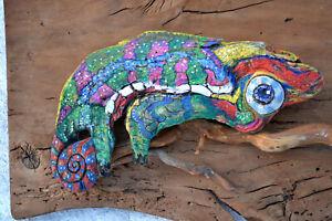 Chameleon wall art Handmade Wood Wall Art Modern Abstract Artwork Wildlife Decor
