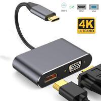 USB C To HDMI Adapter USB 3.1 Type C To Vga 4K UHD Converter HUB For Laptop PC ~