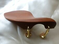 BROWN WOOD VIOLIN CHIN REST WITH TWO PIECE STYLE CORKED CLAMP, 4/4, UK SELLER!