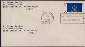 USA 1976 domestic COVER with Bicentennial Era Kansas flag stamp @D3112