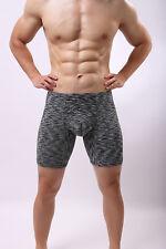 Men's Boxer Briefs Long Leg Underwear Low Rise Trunks With Pouch Underpants