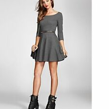 New Women sz XS GUESS Three-Quarter Sleeve French Terry Fit-and-Flare Dress GRAY