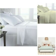 400TC LUXURY HOTEL QUALITY EGYPTIAN COTTON SATEEN FITTED FLAT SHEET 4 PCS SET