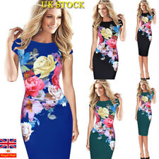 Plus Size Women Evening Party Retro Flral Bodycon Dress Slim Stretchy Dress Gown