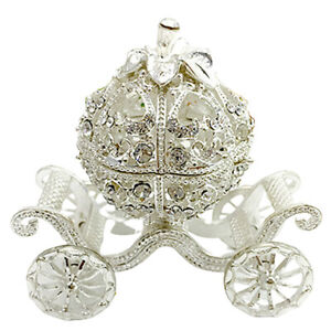 Metal Hollow Silver Plated Crystal Jewelry Trinket Box Craft Gift Home Decor