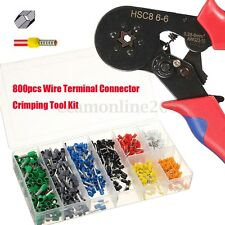 800X Insulated Crimp Wire Terminal Connector & Ratchet Ferrule Crimper Plier Set