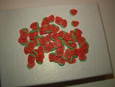 100 rondelles fimo fraise