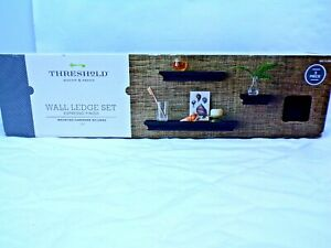 NEW 3 piece Threshold Wall Ledge Set Espresso Finish / Floating Wall Shelves