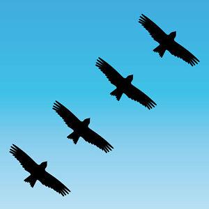4 Sticker 3 7/8in Black Milan Warning Bird Shock Window Protection Deco Foil