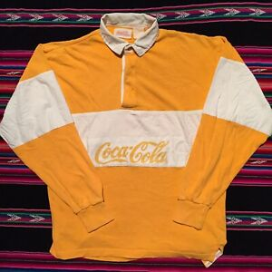 Vintage 80s Coke Coca Cola Long Sleeve Yellow Polo Rugby Shirt Size Medium
