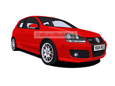 VW GOLF GTI EDITION 30 CAR ART PRINT PICTURE (SIZE A4). PERSONALISE IT!